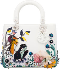 Christian Dior White Leather Bird, Frog & Bee Beaded Medium Lady Dior Bag with Silver Hardware Condition: 1