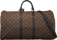 "Louis Vuitton Monogram Macassar Coated Canvas Keepall Bandouliere 55 Bag Condition: 2 22"" Width x 12"" Height x..."