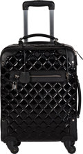"Luxury Accessories:Travel/Trunks, Chanel Black Quilted Patent Leather Rolling Suitcase. Condition: 2. 14"" Width x 18"" Height x 8"" Depth. ..."