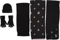 Louis Vuitton Set of Five: Black Scarves, Gloves & Hat Condition: 2 See Extended Condition Report for Sizes...