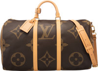 "Louis Vuitton Limited Edition XXL Monogram Reverse Coated Canvas Keepall Bandouliere 50 Condition: 1 20"" Width x 11..."