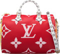 """Luxury Accessories:Bags, Louis Vuitton Limited Edition Pink & Red Giant Monogram Coated Canvas Speedy 30 Bag. Condition: 1. 12"""" Width x 8"""" Heig..."""