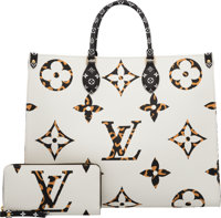 Louis Vuitton Set of Two: Limited Edition Ivoire Jungle Monogram Coated Canvas Onthego Bag & Zippy Wallet Condit...