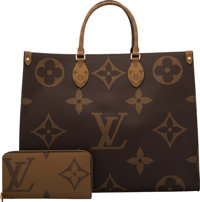 Louis Vuitton Set of Two: Limited Edition Giant Monogram Reverse Coated Canvas Onthego Bag & Zippy Wallet Condit...