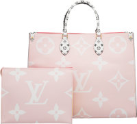 Louis Vuitton Set of Two: Limited Edition Pink & Red Giant Monogram Coated Canvas Onthego Bag & Pochette...