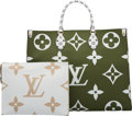 Luxury Accessories:Bags, Louis Vuitton Set of Two: Limited Edition Khaki & White Giant Monogram Coated Canvas Onthego Bag & Pochette. Condition: 1... (Total: 2 )
