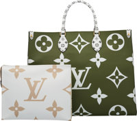 Louis Vuitton Set of Two: Limited Edition Khaki & White Giant Monogram Coated Canvas Onthego Bag & Poche...