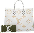 Luxury Accessories:Bags, Louis Vuitton Set of Two: Limited Edition Khaki & White Giant Monogram Coated Canvas Onthego Bag & Zippy Wallet.