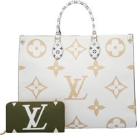 Louis Vuitton Set of Two: Limited Edition Khaki & White Giant Monogram Coated Canvas Onthego Bag & Zippy...