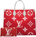 Luxury Accessories:Bags, Louis Vuitton Set of Two: Limited Edition Pink & Red Giant Monogram Coated Canvas Onthego Bag & Zippy Wallet. Condition: 1... (Total: 2 Items)