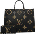 Luxury Accessories:Bags, Louis Vuitton Set of Two: Limited Edition Black & Caramel Jungle Monogram Coated Canvas Onthego Bag & Zippy Wallet