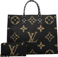 Louis Vuitton Set of Two: Limited Edition Black & Caramel Jungle Monogram Coated Canvas Onthego Bag & Zi...
