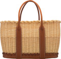 """Luxury Accessories:Bags, Hermès Limited Edition Fauve Barenia Leather & Osier Wicker Picnic Garden Party Bag. Condition: 1. Circa 2012. 15""""..."""