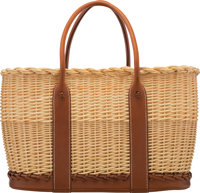 Hermès Limited Edition Fauve Barenia Leather & Osier Wicker Picnic Garden Party Bag Condition: 1