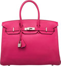 Luxury Accessories:Bags, Hermès Special Order Horseshoe 35cm Rose Shocking & Anemone Chevre Leather Birkin Bag with Palladium Hardware. M Square, 2...