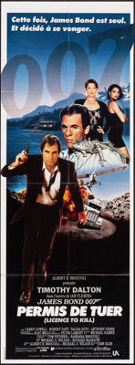 "Licence to Kill (United Artists, 1989). Folded, Very Fine-. French Pantalon (22.25"" X 61.25""). James Bond"