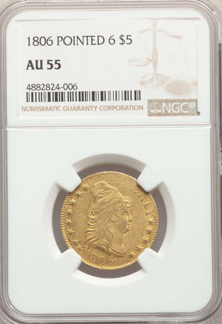 1806 $5 Pointed 6, 8x5 Stars 55 NGC