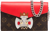"""Louis Vuitton Brown Tribal Mask Wallet on Chain with Silver Hardware Condition: 2 Dims: 7.25"""" x 5"""" x 1""""..."""