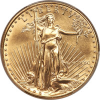 1990 $50 One-Ounce Gold Eagle MS70 PCGS....(PCGS# 9844)