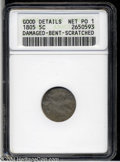 Early Half Dimes: , 1805 H10C--Damaged, Bent, Scratched--ANACS. Good Details, Net Poor1....