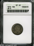 Bust Dimes: , 1814 10C Large Date XF45 ANACS....