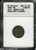 Bust Dimes: , 1820 10C Large 0--Scratched, Cleaned--ANACS. XF Details, NetVF30....