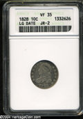 Bust Dimes: , 1828 10C Large Date VF35 ANACS....