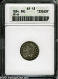 Bust Dimes: , 1834 10C Large 4 XF45 ANACS....