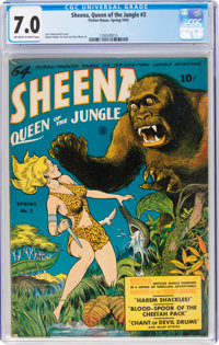 Sheena, Queen of the Jungle #3 (Fiction House, 1943) CGC FN/VF 7.0 Off-white to white pages