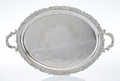 Silver & Vertu, An H. Meyen & Co. Two-Handle Silver Tray with Scroll Edge