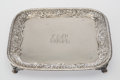 Silver & Vertu, A Tiffany & Co. Footed Silver Salver, New York, 1879. Marks: 307, TIFFANY & CO., 5768, MAKERS, 4986, 11. 1-1/8 x 11-1/4 ...