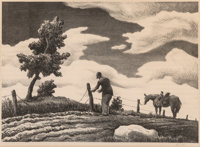 Thomas Hart Benton (American, 1889-1975) The Fence Mender, 1941 Lithograph on paper 10 x 14 inches (25.4 x 35.6 cm) (