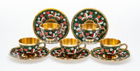 A Set of Five Russkiye Samotsvety Enameled, Gilt and Filigree Silver Cups and Saucers, late 20th century Marks: