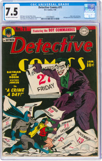Detective Comics #71 (DC, 1943) CGC VF- 7.5 Off-white to white pages