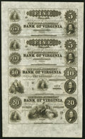 Obsoletes By State:Virginia, Jeffersonville, VA - Trans-Alleghany Bank of Virginia $5-$5-$10-$20 18__ Remainder Uncut Sheet Extremely Fine-About Uncirc...