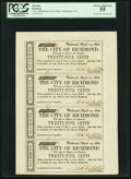Obsoletes By State:Virginia, Richmond, VA - City of Richmond 25¢-25¢-25¢-25¢ Apr. 14, 1862 Sheet of Four Notes PCGS Choice About New 55.. ...
