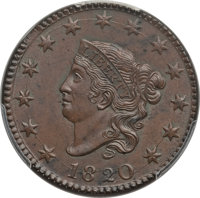 1820 1C Large Date MS64 Brown PCGS. PCGS Population: (239/177). NGC Census: (164/174). CDN: $1,025 Whsle. Bid for proble...