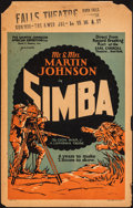 """Movie Posters:Documentary, Simba: The King of the Beasts (Martin Johnson African Expedition Corp., 1928). Very Good+. Window Card (14"""" X 22""""). Document..."""