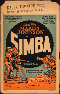 "Simba: The King of the Beasts (Martin Johnson African Expedition Corp., 1928). Very Good+. Window Card (14"" X 22&qu..."