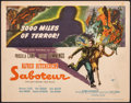 """Movie Posters:Hitchcock, Saboteur (Universal, 1942). Fine/Very Fine. Title Lobby Card (11"""" X 14""""). Hitchcock.. ..."""