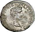 Ancients:Roman Imperial, Ancients: Augustus (27 BC-AD 14). AR denarius (19mm, 2h). NGC XF....