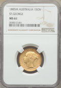 "Australia: Victoria gold ""St. George"" Sovereign 1885-M MS61 NGC"