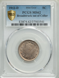 1912-D 5C Nickel -- Broadstruck out of Collar -- MS62 PCGS Secure