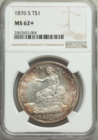 1876-S T$1 MS62+ NGC. NGC Census: (152/212 and 1/0+). PCGS Population: (183/256 and 2/11+). MS62. Mintage 5,227,000...
