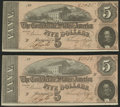 Confederate Notes:1864 Issues, T69 $5 1864 Two Examples About Uncirculated.. ... (Total: 2 notes)