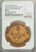 20th Century Tokens and Medals, 1961 MEDAL War Between the States, Civil War Centennial Gold Medal, #18, MS67 NGC. 40 mm, 34.7 grams. Struck in 10k gold....