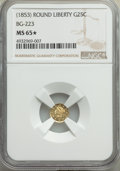 California Fractional Gold , Undated 25C Liberty Round 25 Cents, BG-223, Low R.4, MS65★ NGC. NGC Census: (2/2 and 1/0*). PCGS Population: (4/1 an...