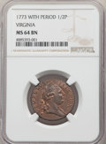 Colonials, 1773 1/2 P Virginia Halfpenny, Period MS64 Brown NGC. NGC Census: (28/3). PCGS Population: (71/5). CDN: $1,175 Whsle. Bid f...