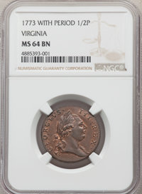 1773 1/2 P Virginia Halfpenny, Period MS64 Brown NGC. NGC Census: (28/3). PCGS Population: (71/5). CDN: $1,175 Whsle. Bi...