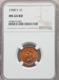 Indian Cents: , 1908-S 1C MS64 Red NGC. NGC Census: (94/113). PCGS Population: (210/305). CDN: $1,200 Whsle. Bid for problem-free NGC/PCGS ...